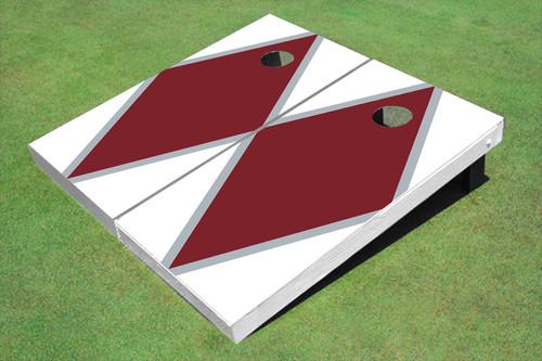 Maroon And White Matching Diamond Custom Cornhole Board