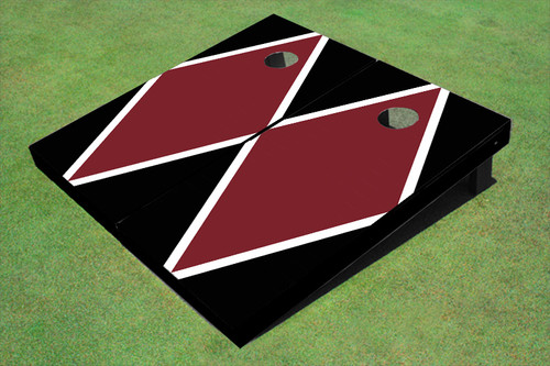 Maroon And Black Matching Diamond Custom Cornhole Board