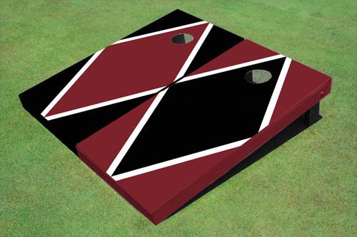 Maroon And Black Alternating Diamond Custom Cornhole Board