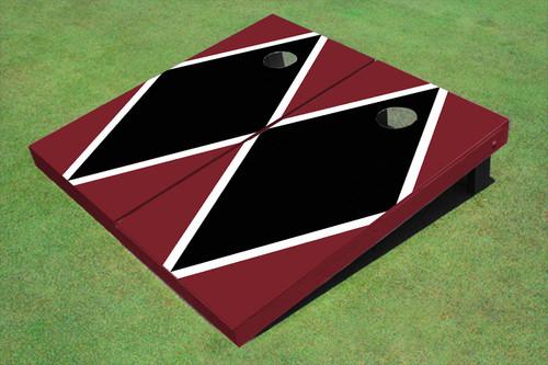Black And Maroon Matching Diamond Custom Cornhole Board