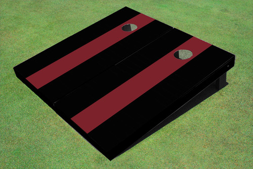 Maroon And Black Matching Long Stripe No Stripe Custom Cornhole Board