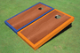 Rosewood Stained Center Orange And Blue Border Custom Cornhole Board