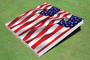 Wavy American Flag (white) Custom Cornhole Board Set