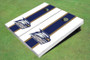 Georgia Southern University Head Logo Blue And White Matching Long Stripe Cornhole Boards