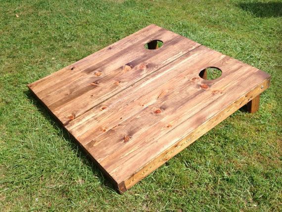 Stained Wood Slat Custom Cornhole Board