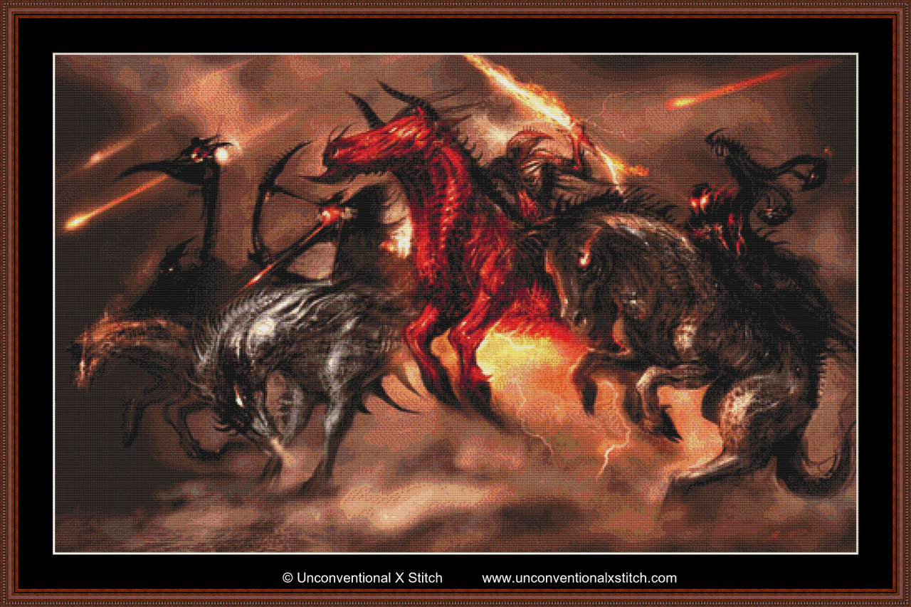 Four Horses Of The Apocalypse Chart Counted Cross Stitch Pattern Needlework