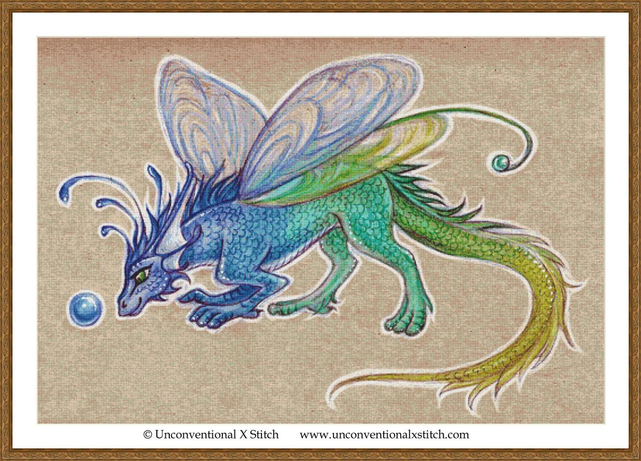 Fairy-Dragon-Cross stitch pattern-PDF instant download  F\u00e9e-Dragon-Grille point de croix-PDF instantan\u00e9