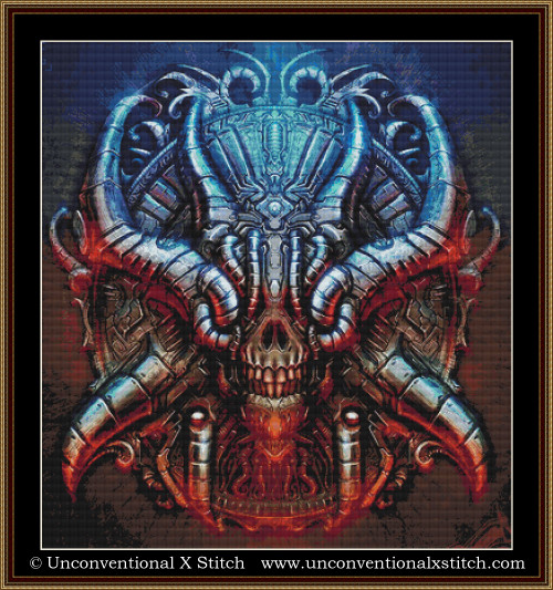 Biomechanical Chrome Skull cross stitch pattern (XL edition)