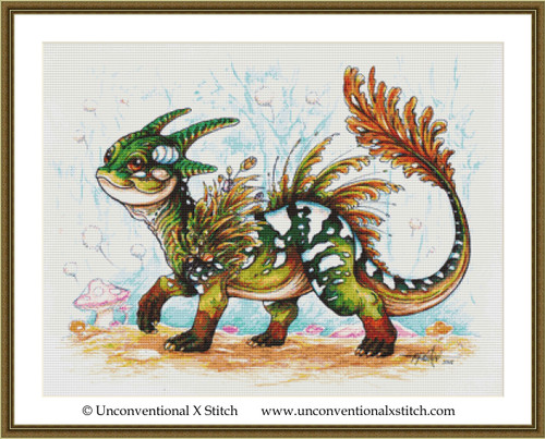 Baby Forest Dragon cross stitch pattern