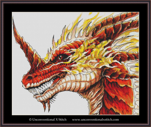 Red Dragon cross stitch pattern