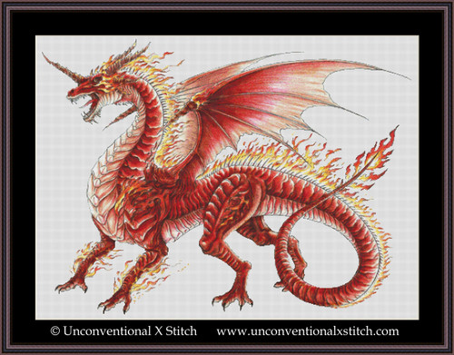 Flame Dragon cross stitch pattern