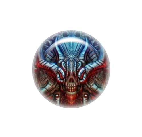 Biomechanical Chrome Skull needle minder - Marius 'noistromo' Siergiejew