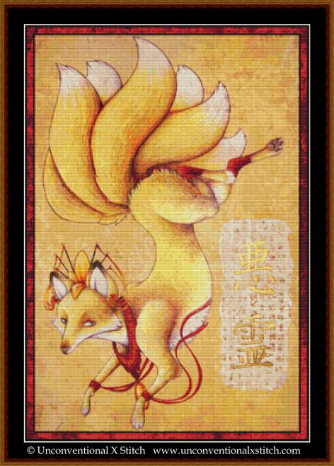 Kitsune cross stitch pattern