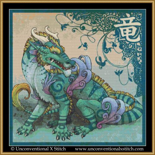 Draco Orientalis cross stitch pattern