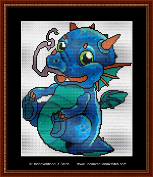 Baby Blue Dragon cross stitch pattern