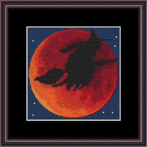 Blood Moon and Witch cross stitch pattern