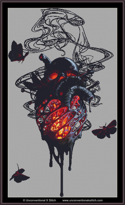 Infernal Heart (background removed) cross stitch pattern