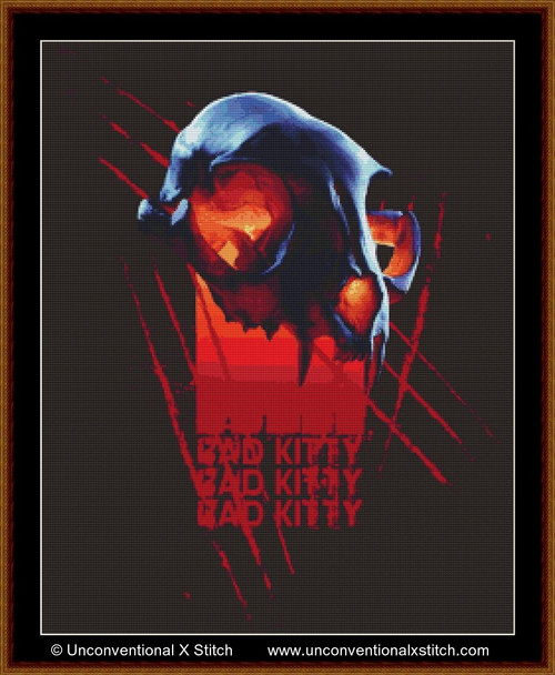 Bad Kitty cross stitch pattern