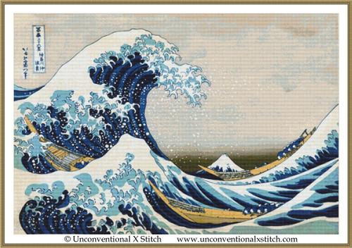 Great Wave off Kanagawa cross stitch pattern