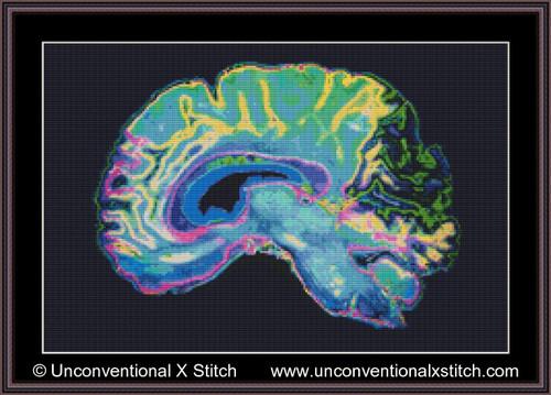 Brain MRI cross stitch pattern