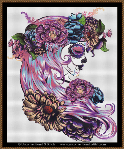Sugar Skull Goddess cross stitch pattern