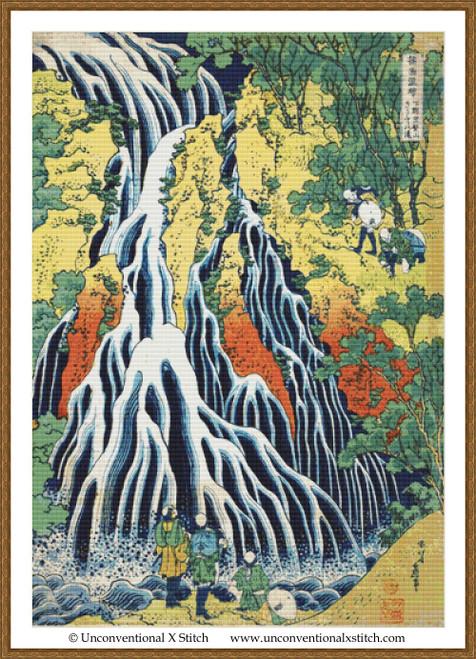 The Kirifuri Waterfall at Mt. Kurokami cross stitch pattern