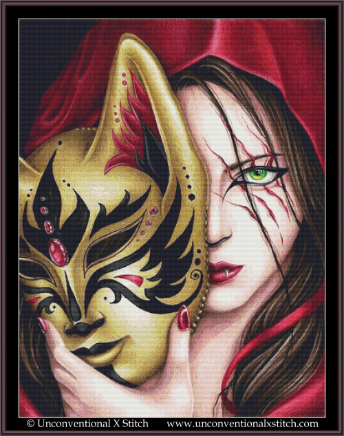Red riding hood behind the Mask cross stitch pattern