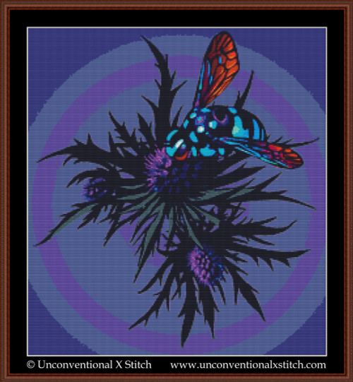 Thistle Bee cross stitch pattern