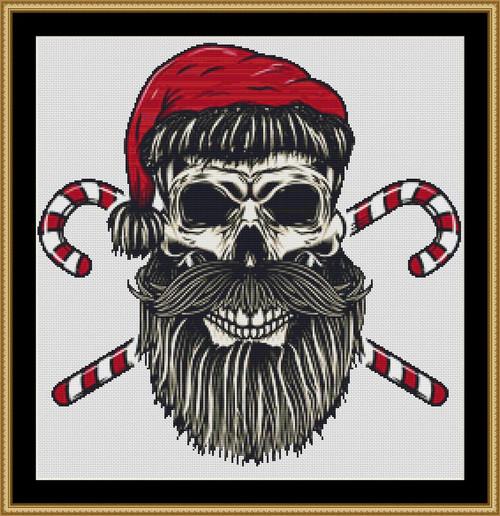 Santa Skull cross stitch pattern