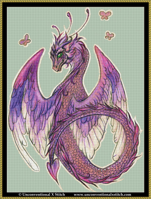 Purple Dragon cross stitch pattern