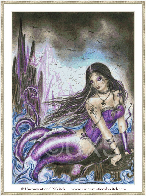 Gothic Mermaid cross stitch pattern