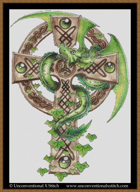 Dragon on the Cross cross stitch pattern (Background Removed edition)
