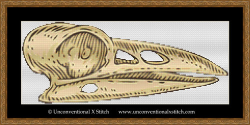 Raven Skull cross stitch pattern