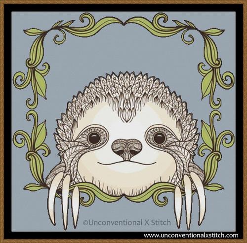 Peek a Boo Sloth cross stitch pattern
