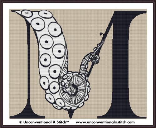 Letter M - Tentacle Alphabet cross stitch pattern