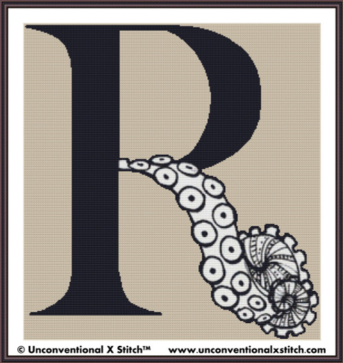Letter R - Tentacle Alphabet cross stitch pattern