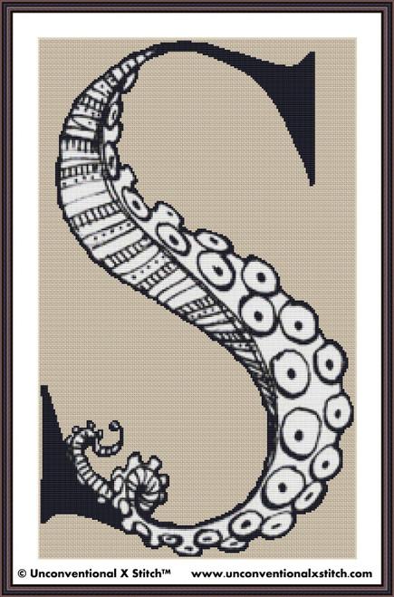 Letter S - Tentacle Alphabet cross stitch pattern