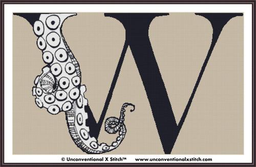 Letter W - Tentacle Alphabet cross stitch pattern