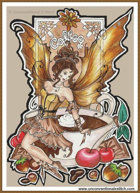 Coffee Fairy cross stitch pattern