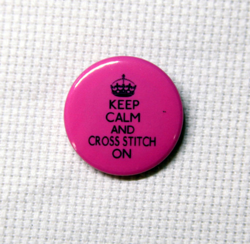 Keep Calm and Cross Stitch On needle minder pink