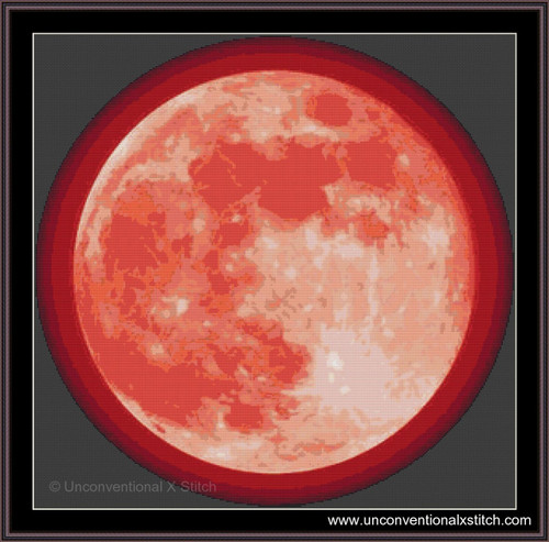 Blood Moon with Halo cross stitch pattern
