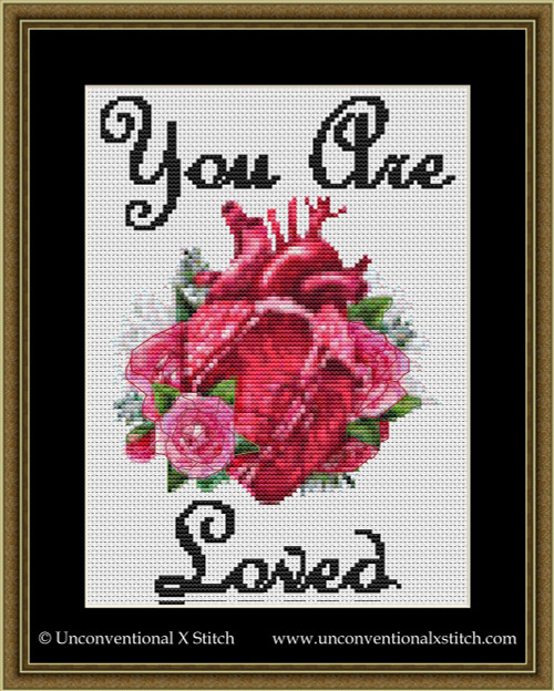 You Are Loved cross stitch pattern
