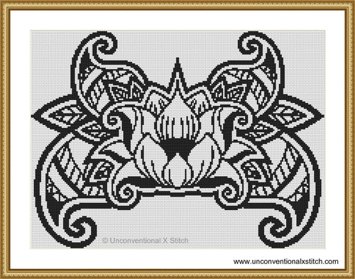 Colour in Lotus cross stitch pattern