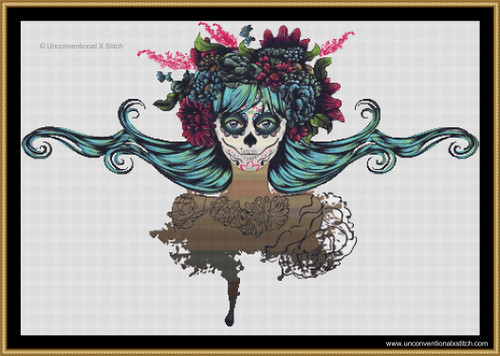 Sugar Skull Mother cross stitch pattern