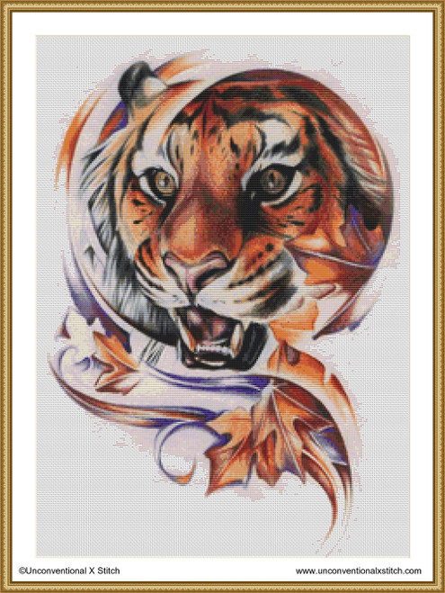Autumn Tiger cross stitch pattern