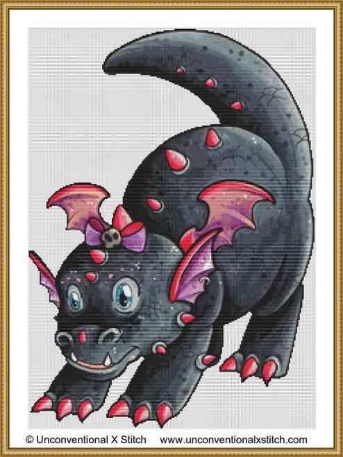 Baby Punk Dragon cross stitch pattern