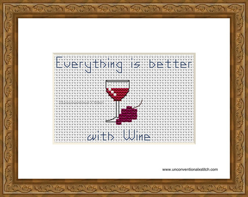 Everything is better with Wine cross stitch pattern
