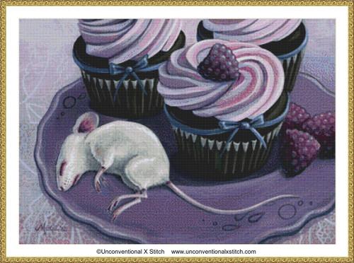 Raspberry Cupcake cross stitch pattern