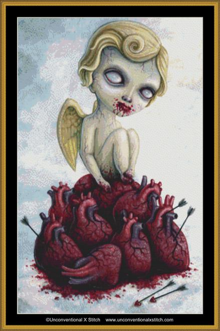 Zombie Cupid cross stitch pattern