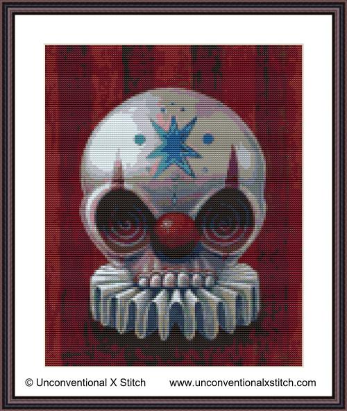 Chuckles the Clown cross stitch pattern (Miniature edition)